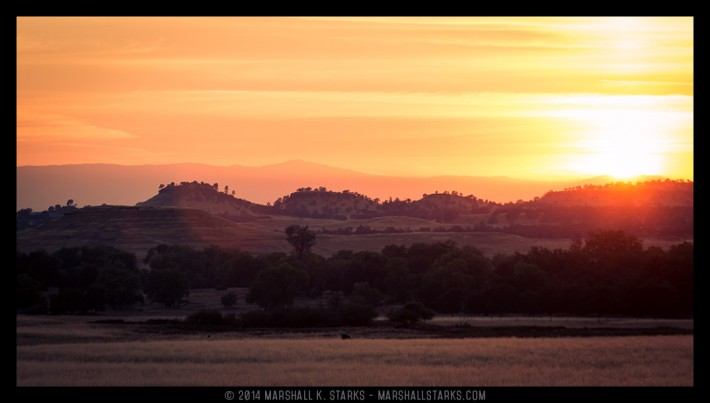 Looking west from Highway 70 in Butte County as the sun sets on another summer day.
