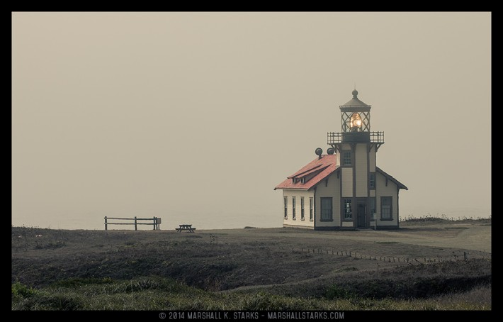 As the afternoon fog rolls in, the lighthouse at Point Cabrillo stands guard protecting the shores.